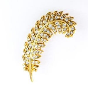 Swarovski Feather Brooch Pin Pave Crystals